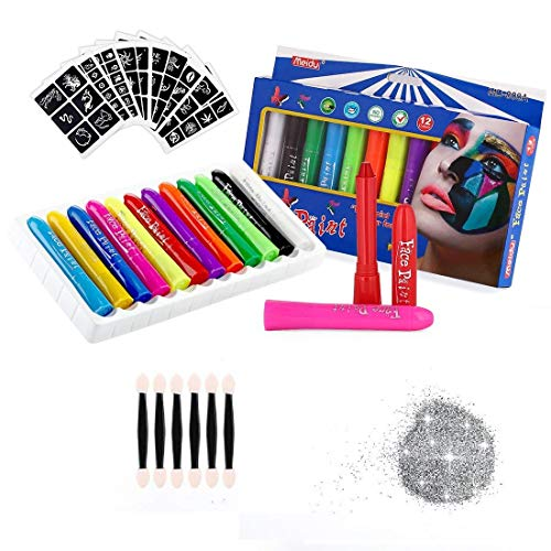 Face Painting Kit For Kid Include 108 Stencil 6 Brushes and 1 Pack of Glitter - 12 Colors Safe Non Toxic Washable Body Paint Crayons for Professional Clown Makeup Halloween Christmas Flag Children Toy