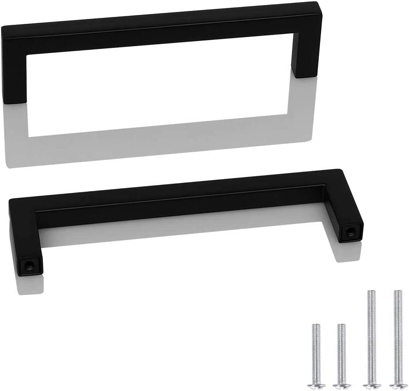 Probrico 10 Pack Square Corner Bar Kitchen Cabinet Door Handles and Knobs Drawer Pulls Barthroom Bedroom Furniture Handles Black Stainless Steel Hole Centers 5 inch 128mm