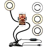 Ring Light with Stand for Live Stream, Dimmable[3-Light Mode][9-Level Brightness] Clamp on Gooseneck Cell Phone Stand with Selfie Ring Light for Youtube, Facebook, iphone 7,6/plus,Samsung,HTC,HUAWEI
