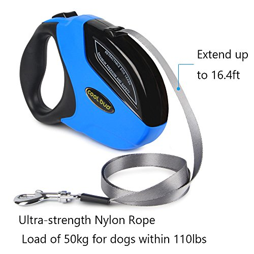Retractable Dog Leash,Heavy Duty 16 Foot Extended Dog Walking Leash Adjustable with Break and Lock Button-Sturdy Nylon Ribbon Cord,Tangle Free,Suitable for Small,Medium and Large Dogs Up to 110 Lbs by PetsKing (Image #2)