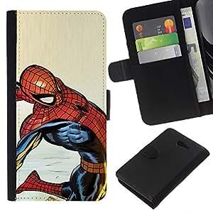 """A-type (Oldschool Araña Superhéroe"""") Colorida Impresión Funda Cuero Monedero Caja Bolsa Cubierta Caja Piel Card Slots Para Sony Xperia M2"""