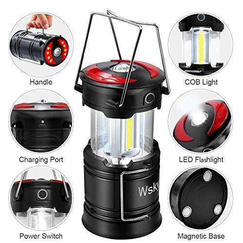 Wsky Led Camping Lantern – Best Rechargeable LED Flashlight Lantern – High Lumen, Rechargeable, 4 Modes, Water Resistant Light – Best Camping, Outdoor, Emergency Flashlights Lanterns