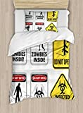 Zombie Decor Duvet Cover Set by Ambesonne, Warning Signs for Evil Creatures Paranormal Construction Do Not Open Artwork, 2 Piece Bedding Set with 1 Pillow Sham, Twin / Twin XL Size, Multicolor