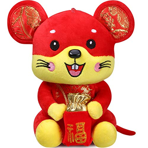 Chinese New Year Red Rat Ornament Decorations Year of The Mouse Festival Decoration Good Luck Plush Red Mascot Mouse Stuffed Animal Table Shelf Decor Home Figurines (1 Pack, Rat with Lucky Bag)