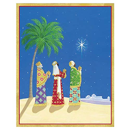 Caspari Three Wisemen & North Star Mini Boxed Christmas Cards - 16 Cards & 16 Envelopes