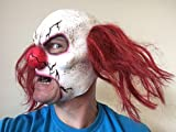 Scary-Clown-Mask-Chin-Strap-Latex-Red-Hair-Red-Nose-Halloween-Horror-Masks