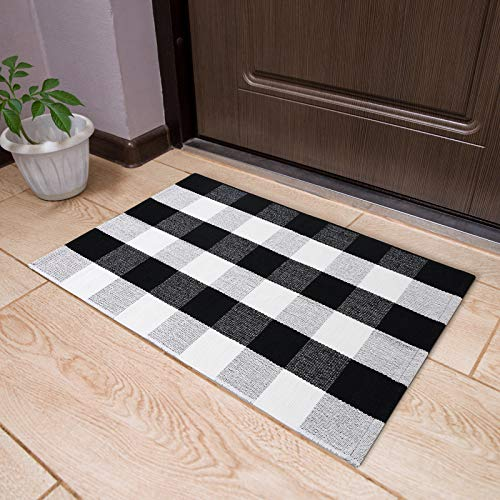 Buffalo Plaid Rugs, Buffalo Plaid Check Area Rug, Washable Hand-Woven Cotton Black and White Front Door Outdoor Mat for Kitchen/Laundry/Bedroom/Bathroom/Entry
