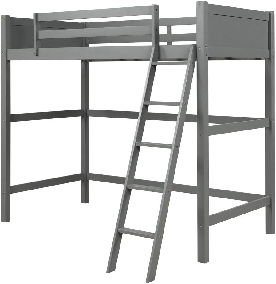 Zebery Wood Loft Bed Panel Style Loft Bed Solid Wood Twin-Size High Loft Bed with Ladder Kids Bedroom Space-Saving Design Furniture No Box Spring Needed