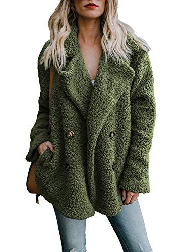 Furry Chaud Veste Couleur Manteaux Hiver Femme Vert Outwear Automne Manteau Unie Cardigan Polaire zX4OxYwqU