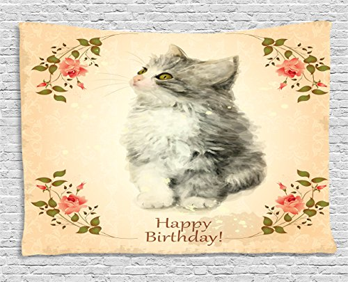 [Birthday Decorations Tapestry by Ambesonne, Adorable Fluffy Cat Rose Branches Greeting Card Inspired Design, Wall Hanging for Bedroom Living Room Dorm, 60 W X 40 L Inches, Tan Grey Coral] (Cat Valentine Greeting Cards)