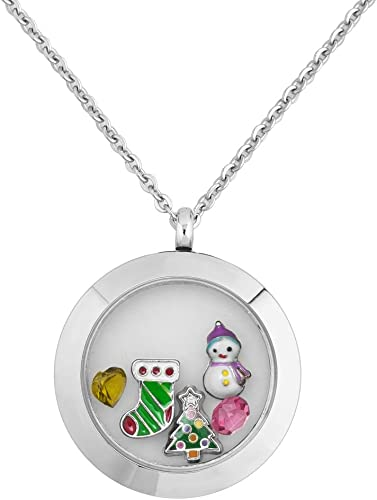 DemiJewelry Christmas Floating Charm Living Memory Locket Pendant Necklace