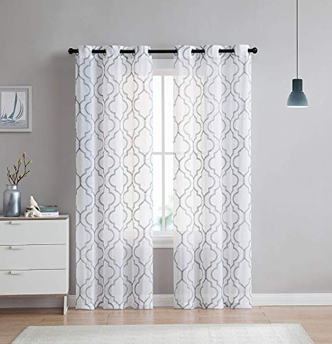 2 Pack: VCNY Home Charlotte Embroidered Quatrefoil Trellis Semi Sheer Curtain Panels - Assorted Colors & Sizes (96 in. Length, Grey) (White With Grey Curtains)
