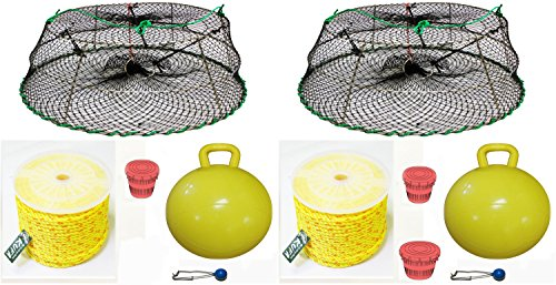 2-Pack of KUFA Sports Tower Style Prawn trap with 400' rope, Yellow float and Vented Bait Jar combo (CT77+PAP5)X2 by KUFA