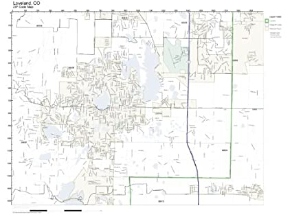 Amazon.com: ZIP Code Wall Map of Loveland, CO ZIP Code Map Not ...