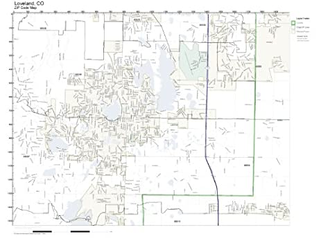 Amazon.com: ZIP Code Wall Map of Loveland, CO ZIP Code Map Laminated ...