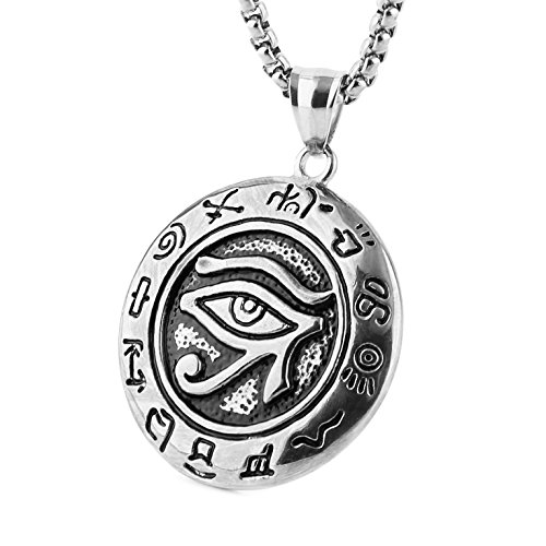 HZMAN Men's Stainless Steel Egypt Eye of Horus Symbol of Protection Pendant Necklace (Silver)