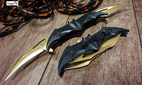 New! Batman Dark Knight Bat Spring Assisted Open Folding Double Blade Dual Twin 3 Colors Pocket Knife Tactical Belt Clip Black Gold Rainbow Knives Great Gift (Gold)