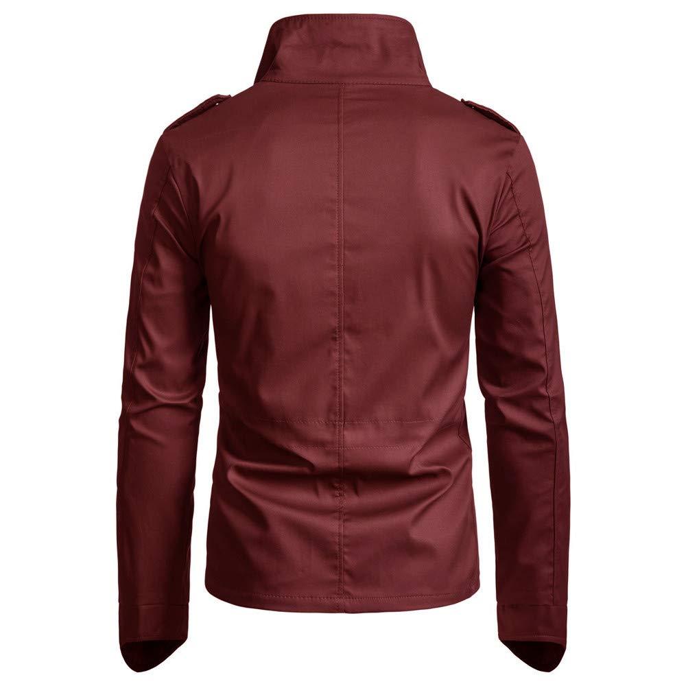 Men/'s Slim Fit Military Style Jacket Stand Collar Coat Zip Button Hoody Overcoat