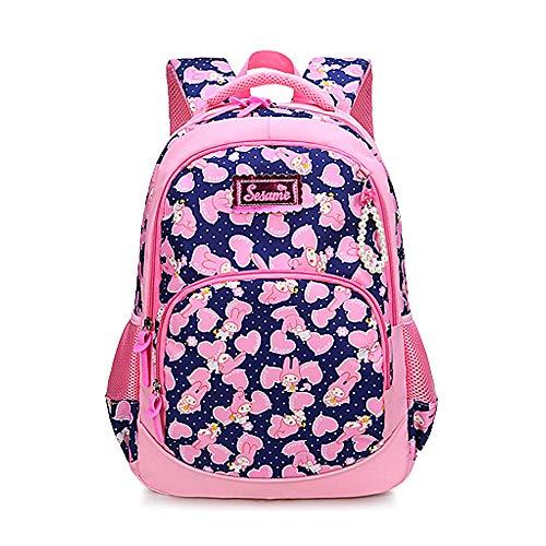 Backpack for Girls,Waterproof Lightweight Cartoon Rabbit and Hearts School Bag Book bag for Kids Girls