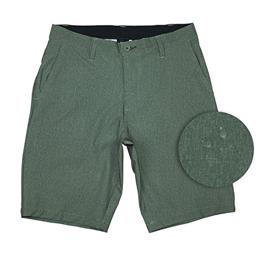 [Burnside Mens Hybrid Short Lightweight Stretch Walkshort & Boardshort-Olive-34] (Xxl Santa Suits For Sale)