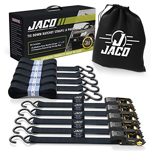 JACO Ratchet Tie Down Straps (4 Pack) - 1 in x 15 ft | AAR Certified Break Strength (1,823 lbs) | Cargo Tie Down Set with (4) Utility Ratchet Straps, (4) Bundling Straps, and Accessories (Black)