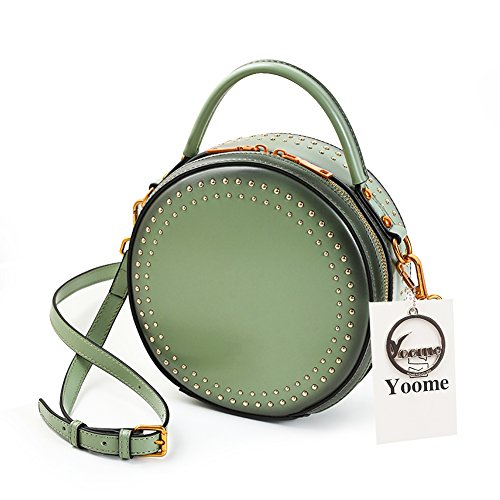 Yoome Elegant Rivet Bag Punk Purse Circular Ring Handle Handbags Real Cowhide Crossbody Bags For Women Z.green.rivets