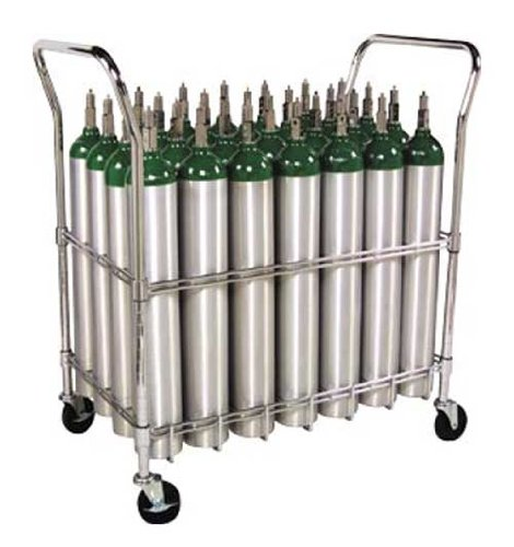 Oxygen Tank Cart with heavy duty casters and brakes - Holds 28 Size E Oxygen Cylinders by W.T. Farley Inc