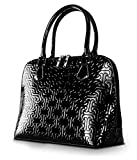 Bravo Beverly Hills Luxury HANDBAG ~Anuta Black Jigsaw Puzzle Design Leather Pocketbook~Size Medium