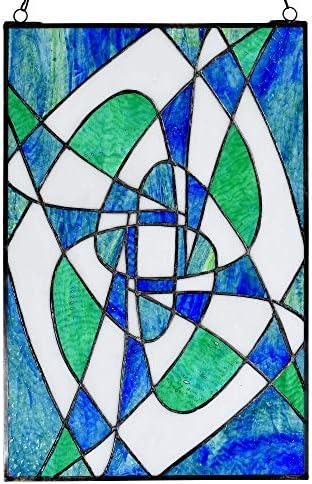 Bieye W10057 Geometric Drawing Tiffany Style Stained Glass Window Panel with Chain, 12 W x 18 H, Green
