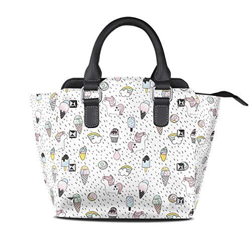 Glazed Donuts And Unicorn Women Top Handle Satchel Handbags Shoulder Bag Tote Purse Messenger Bags