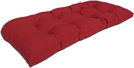 BOSSIMA Indoor Outdoor Swing Bench Loveseat Cushion Replacement Patio Seating Cushions Rust Red Tufted