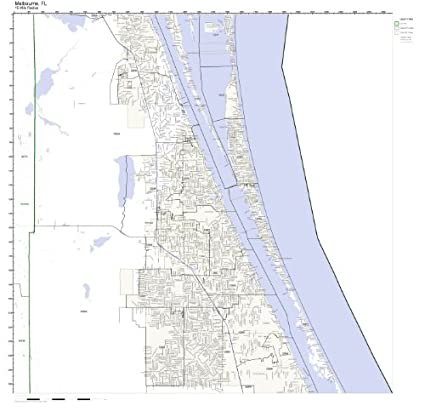 Melbourne Beach Florida Map.Amazon Com Melbourne Fl Zip Code Map Laminated Home Kitchen