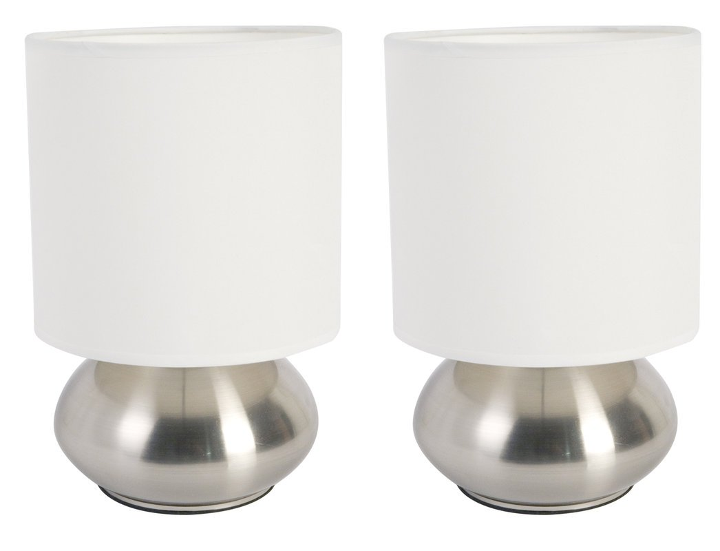 Home Design Versailles Two Light Touch Lamp in Brushed Steel (Set of 2)