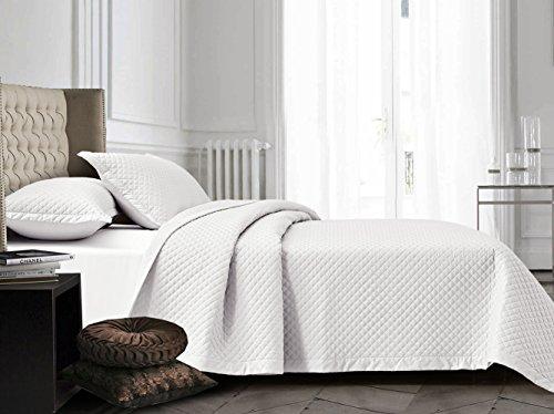 Review Diamond Matelasse 3-Piece Quilt Set 100% COTTON WHITE Reversible Bedspread Coverlet KING / CA...