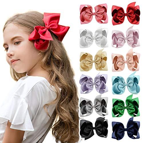 DEEKA 12 PCS 6 Glitter Grosgrain Ribbon Large Hair Bow Alligator Clips for Little Girls