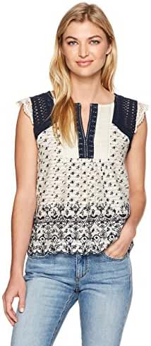 Lucky Brand Women's Printed Embroidered Flutter Top