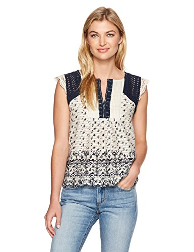 Lucky Brand Women's Printed Embroidered Flutter Top, Natural Multi, Medium
