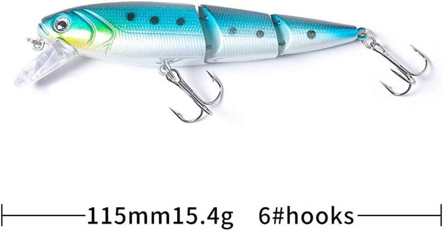 W-SHUFANG 3 Secciones Minnow Se/ñuelo de la Pesca en el mar Wobblers articulados Laser Pike Jerkbait Pesca Crankbait Duro Artificial Cebo de Agua Salada