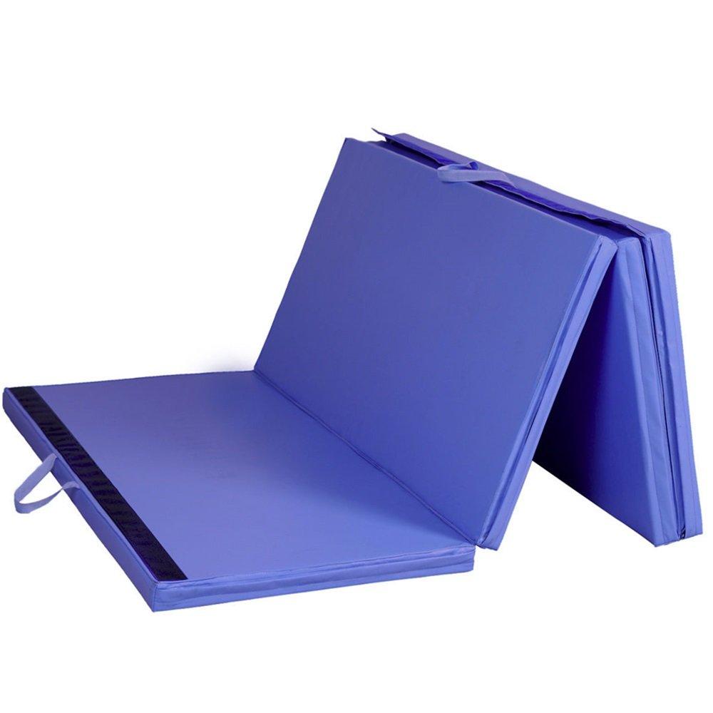 Blue 4'x8'x2'' Gymnastics Mat Thick Folding Panel Gym Fitness Exercise Mat TKT-11