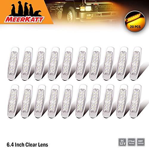 - Meerkatt 12V DC (Pack of 20) 6.4 Inch Clear Lens Amber Ultra-slim LED Sealed Peterbilt-style Surface Mount Clearance Lamp Kenworth Mack Fender Rear Heavy Truck Lighting Waterproof w/Chrome Bezel BB12
