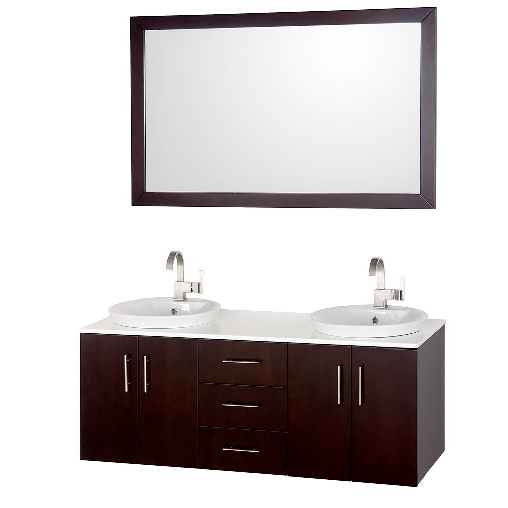 Wyndham Collection Arrano 55 inch Double Bathroom Vanity in Espresso, White Man-Made Stone Countertop, White Porcelain Semi-recessed Sinks, and 52 inch Mirror