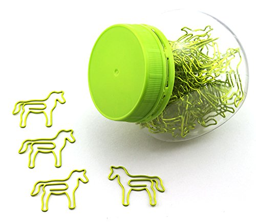 (RuiLing 60 Pack Cute Fun Green Horse Paper Clips Creative Animal Shape, Great For Paper Clip Collectors Bookmark Document Holder Office School Notepad Sticker Stationery)