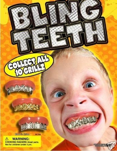 Fun Bling Bling Grillz - Set of 10 Gold and Silver Insert Grillz * Fun Fake Teeth