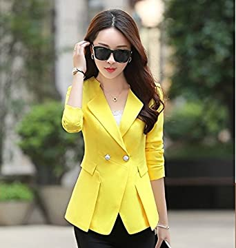 La Mujer Traje Slim, Pure-Capa de Color, HYYX332-Amarillo, M ...