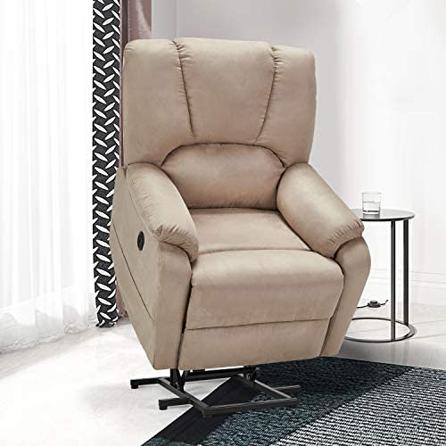 Esirght Electric Power Lift Recliner Chair Sofa with Massage and Heat for Elderly, Microfiber Recliner Chair with Side Pockets USB Port, Beige