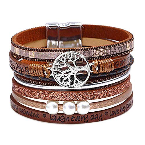 Cukeyouz Tree of Life Leather Bracelet Handmade Wristbands Wrap Boho Multilayer Cuff Bracelet with Magnetic Buckle Bangle for Women, Men,Teenager ()