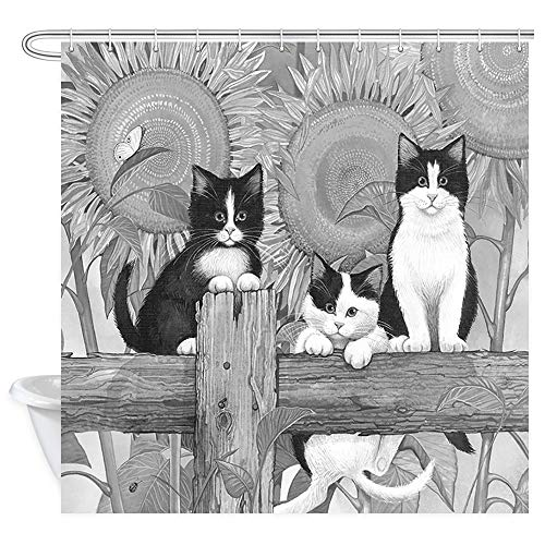 Cute Cat Image Shower Curtain Animal Decor, Funny Curious Kitten on Rural Wooden Fence with Village Sunflower, Gray Black Style Fabric Bath Curtains 69X70 inches, Bathroom Accessories Hooks Included