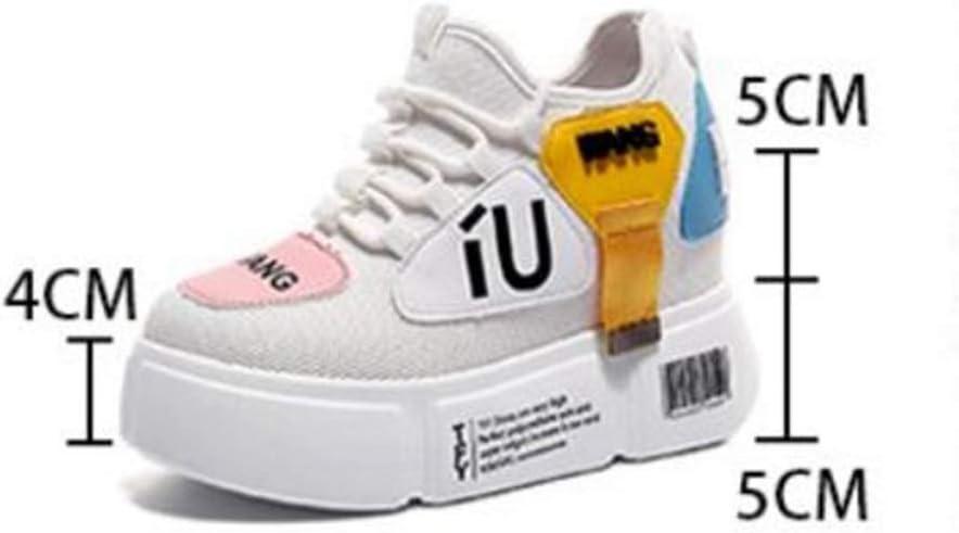 DOSOMI - Zapatillas de Mujer con cuña de 10 cm de Altura, Plataforma de Aumento con Cordones para otoño, Informal, Coloridas, con cuñas: Amazon.es: Deportes y aire libre