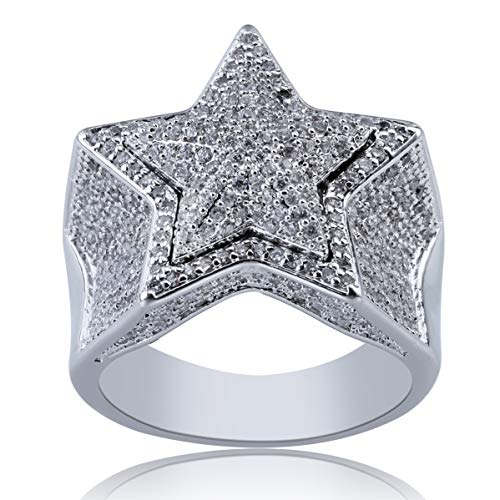 SHINY.U 14K Gold Plated Iced Out CZ Simulated Diamond Flooded 3D Star Punky Ring for Men Engagement Hip Hop Jewelry (White Gold, 8)