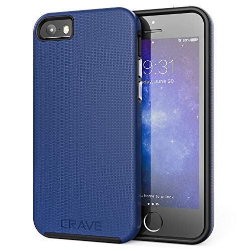iPhone SE Case, Crave Dual Guard Protection Series Case for iPhone 5 / 5s / SE - Navy Blue (Best Iphone 5s Case Ever)